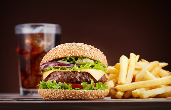 Burger, fries, and Cola.