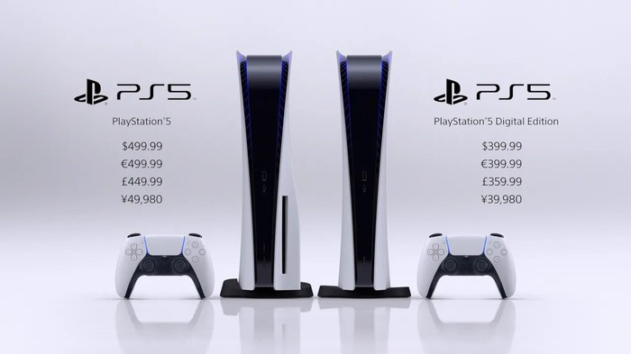 A photo of the two PS5 consoles, showing launch prices in various world currencies.
