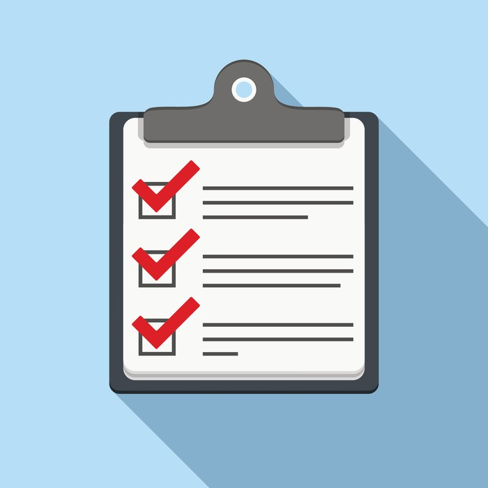 Cartoon checklist with three checked boxes