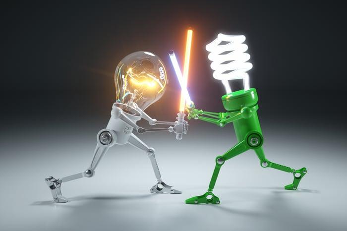 Two lightbulbs in a lghtsaber battle