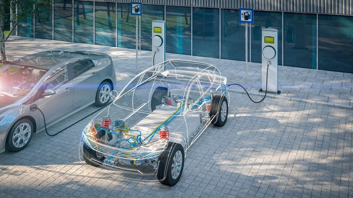 A see-throw look at an electric vehicle.