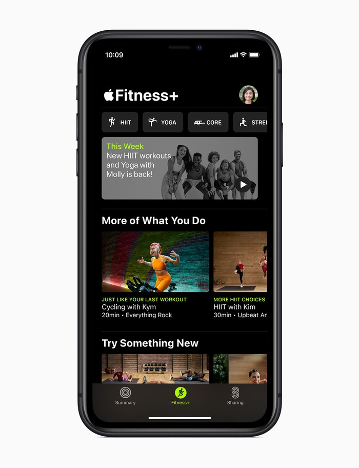 Apple Fitness+ interface displayed on an iPhone