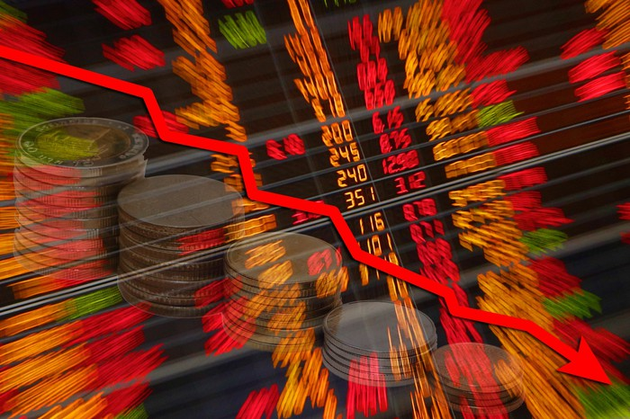 A graph showing a stock market crash.