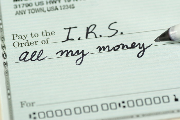 """I check written to the IRS that says """"all my money"""" in the amount field."""