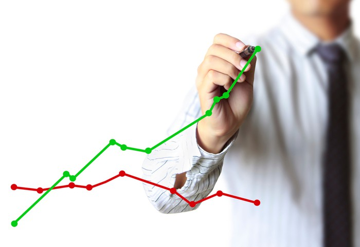 A person is pointing to an upwardly sloping line that's above a declining line.