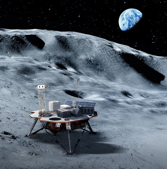 Artist's rendering of a small lander on the moon with Earth in the background.
