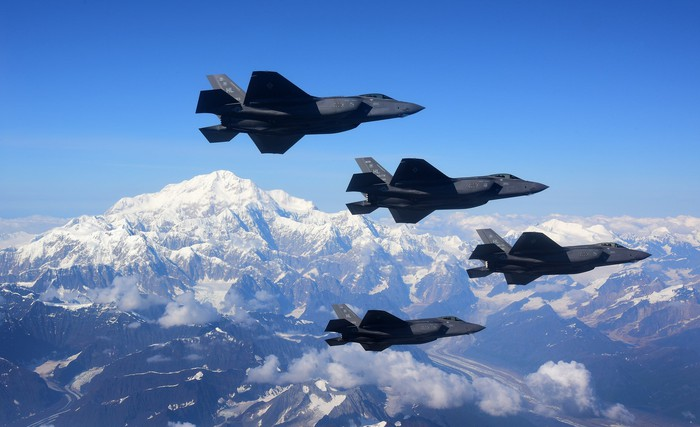 Aerial view of F-35s flying over Alaska.