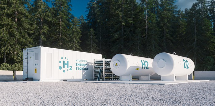 A hydrogen-powered energy storage unit with hydrogen tanks.