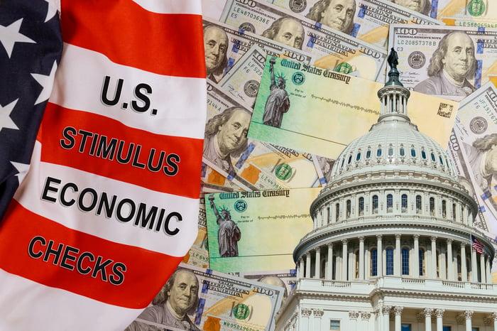 Cash, checks, and Capitol building with flag saying U.S. Stimulus Economic Checks