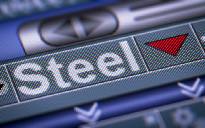 steel with red down arrow indicating steel stocks dropping