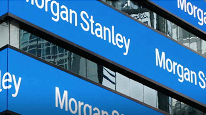 The words Morgan Stanley on a series of displays.
