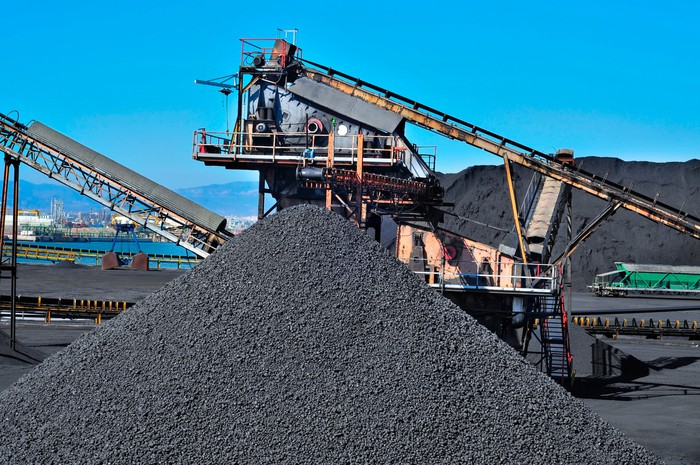 A large pile of coal.