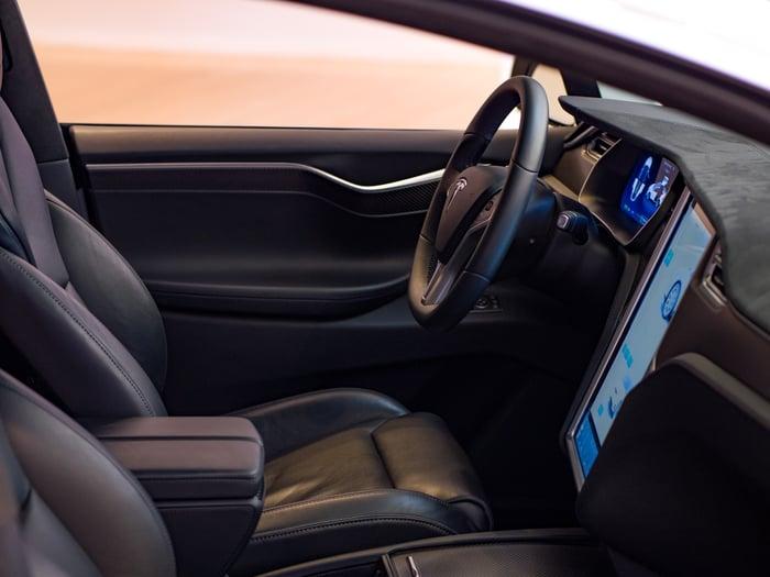 Interior of a Tesla model.