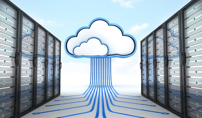 An illustration of a cloud connecting to data servers