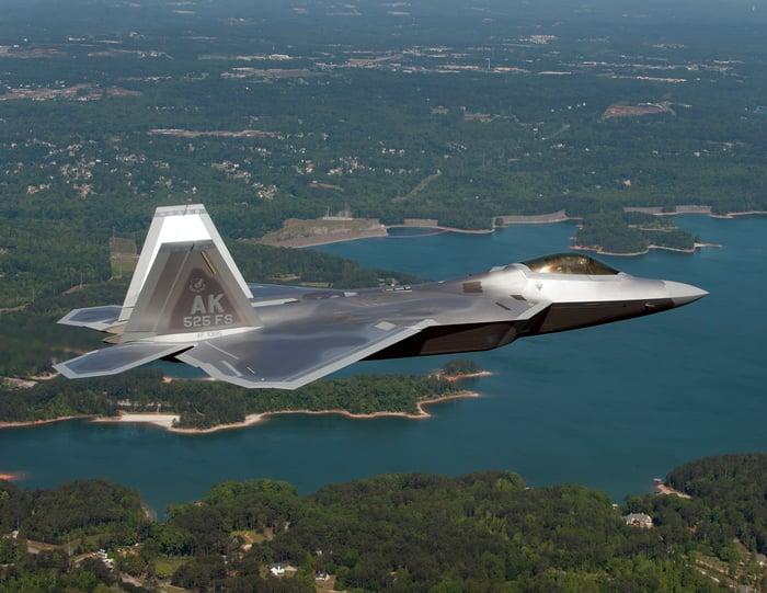 A Lockheed Martin F-22 in flight.