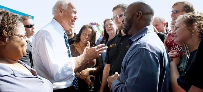 Joe Biden talking to voters