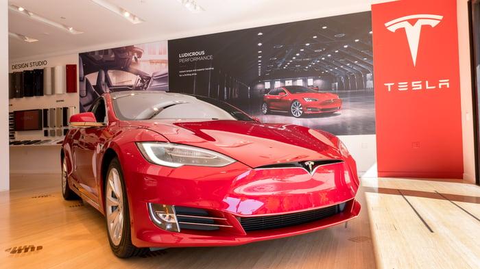 Model S in a Tesla store.