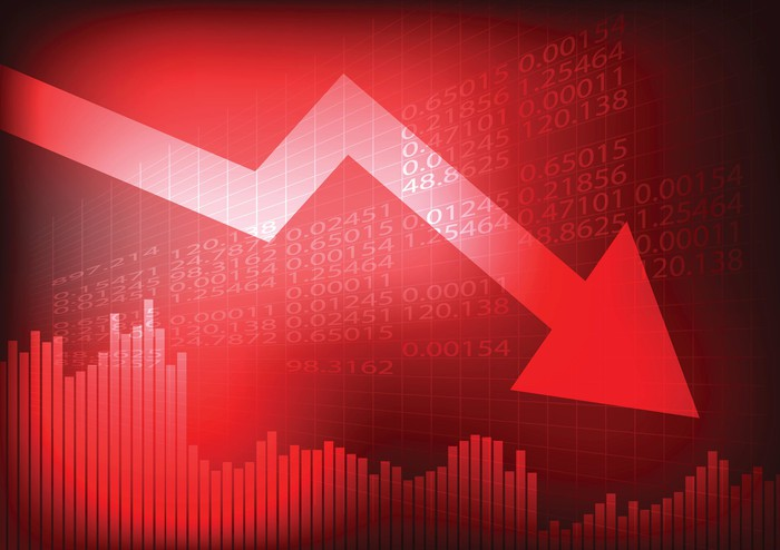 A red arrow trending downward superimposed over stock symbols and a sinking bar chart.