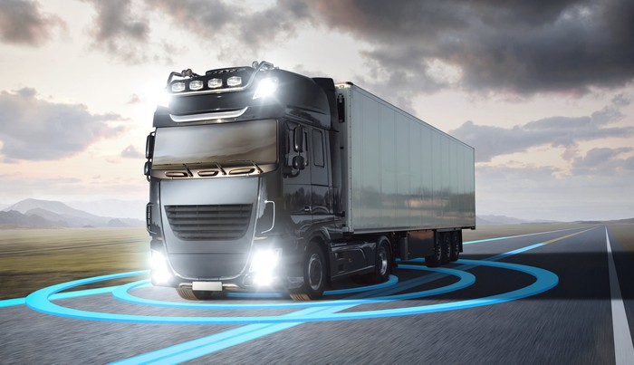 self-driving semi truck image with images from sensors surrounding it