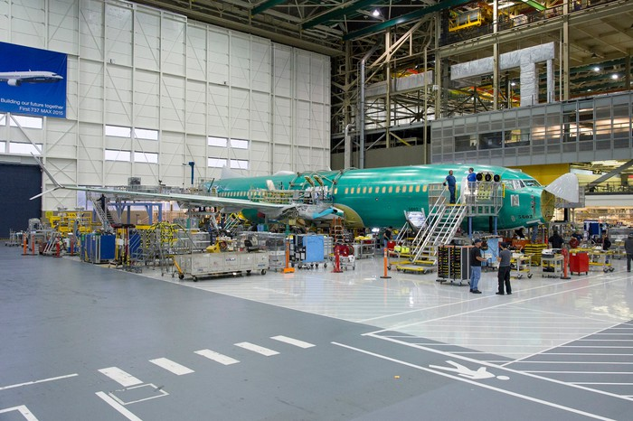A Boeing 737 MAX on final assembly line.