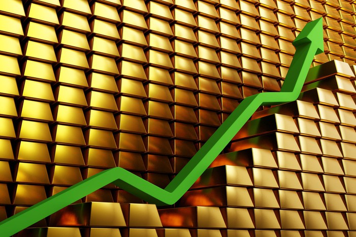 A green arrow rising over gold bars depicting a gold price bull run.