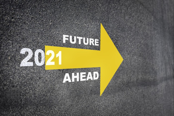 Arrow painted on road with words 2021 FUTURE AHEAD