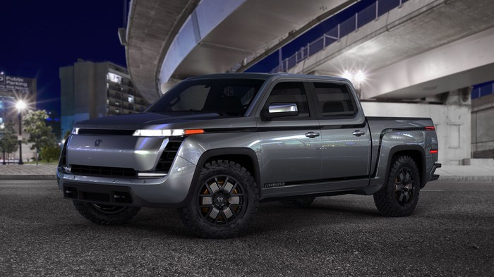 A silver Lordstown Endurance, a prototype electric pickup truck.