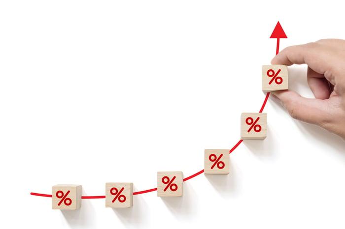 Flecha roja subiendo, con pequeños signos de porcentaje en la flecha y una mano sosteniendo la última.