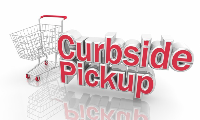 Curbside pickup concept art with a red-handled shopping cart.