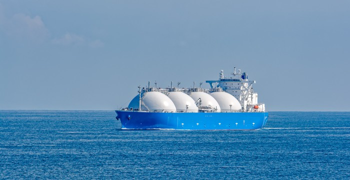 Liquified natural gas tanker sailing in open waters.