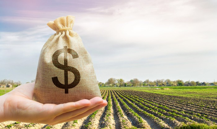 A canvas bag with a dollar sign on it is in a hand, with a farm field behind it.