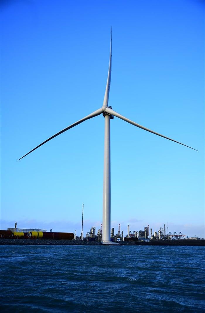 A GE Haliade-X offshore wind turbine