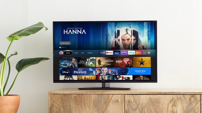 A TV showing Amazon's Fire TV with a new user interface.