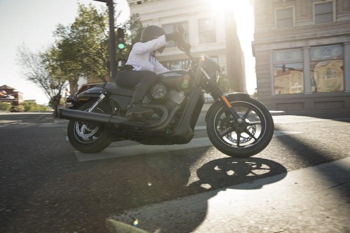 Harley street bike on the road