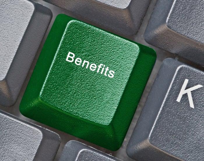 Green benefits key on keyboard, next to K.