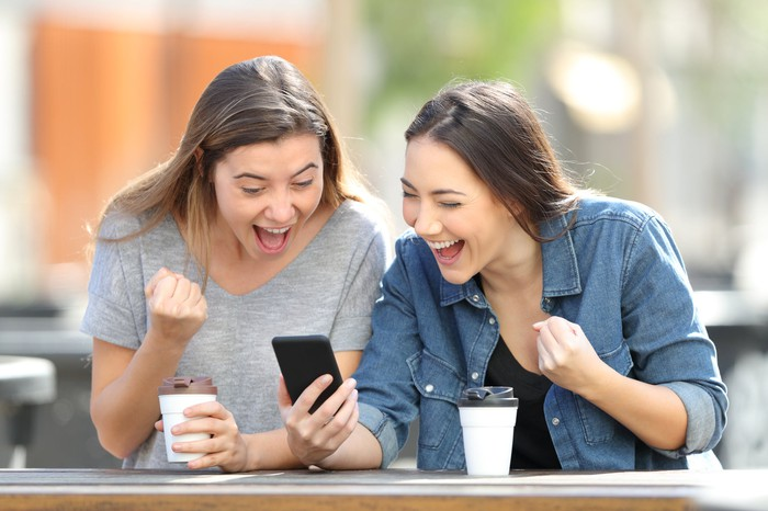 Two women looking at phone and cheering while drinking coffee.