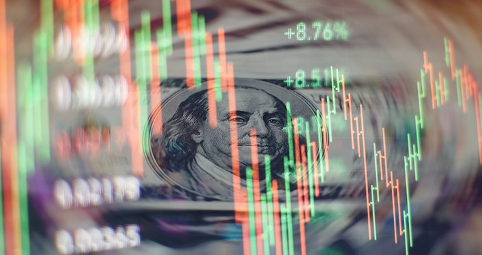 a screen showing fever bars representing pirce volatility on the stock market is overlaid on an image of $100 bills with Ben Franklin's face clearly seen.