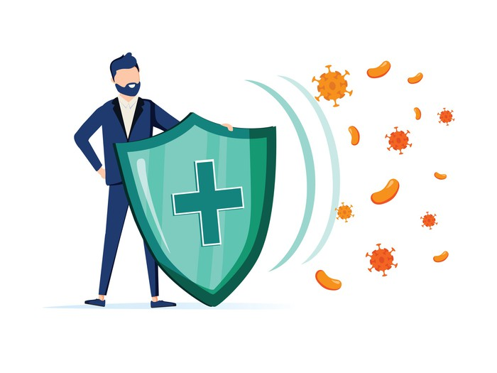 Investor using a shield to defend against coronavirus