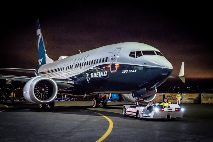 A Boeing 737 Max on a tug.
