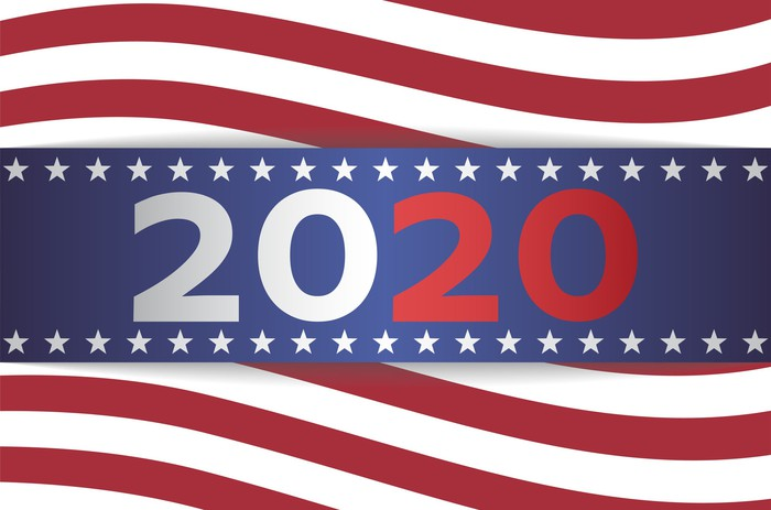 A 2020 U.S. presidential election banner.