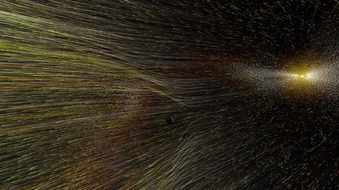 Artist's depiction of solar wind leaving the sun.