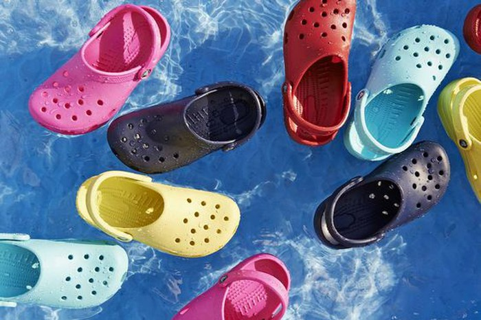 Crocs shoes in a pool