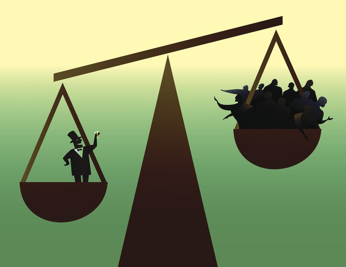 A scale shows a businessman weighs more than a basket of people, visually representing income inequality.
