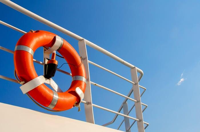 Life preserver on ship's railing