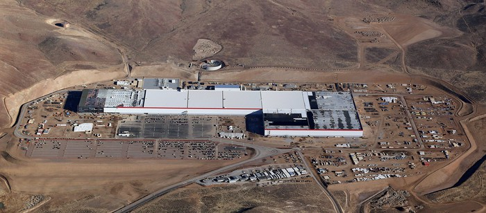 An aerial view of Tesla's Gigafactory 1, the Nevada battery factory it operates with Panasonic.