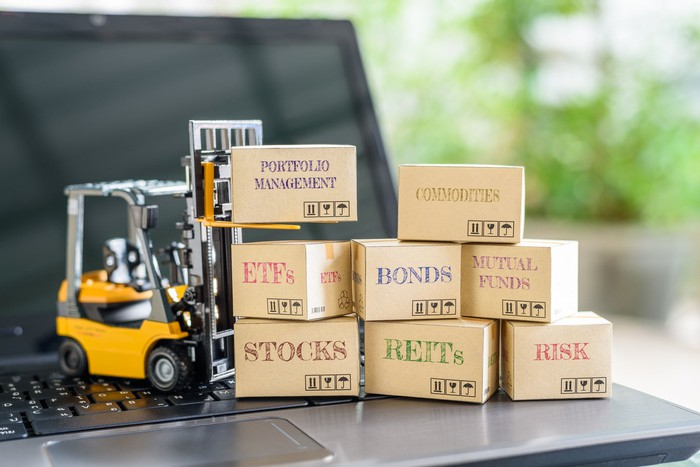 Boxes of financial terms -- stocks, REITs, Risk -- and a toy forklift.