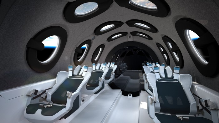 Rendering of the interior of a Virgin Galactic spaceship.
