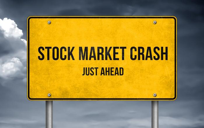 A stock market crash ahead warning road sign.