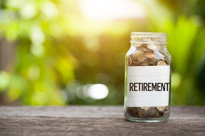 Full coin jar with retirement label.