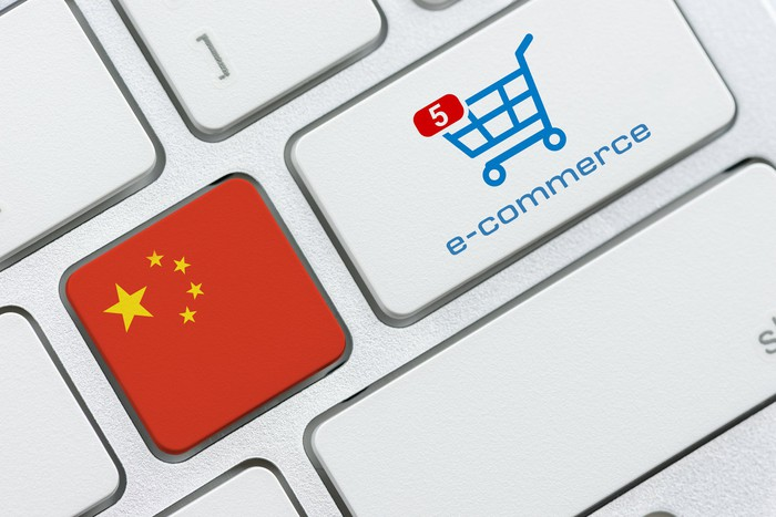 China flag on keyboard right next to key with e-commerce shopping cart.
